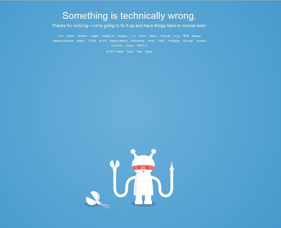 38dab6e7f72e20197b649c784436d57e Is Twitter down? Glitch sparks panic as error screen warns users that 'something's technically wrong'