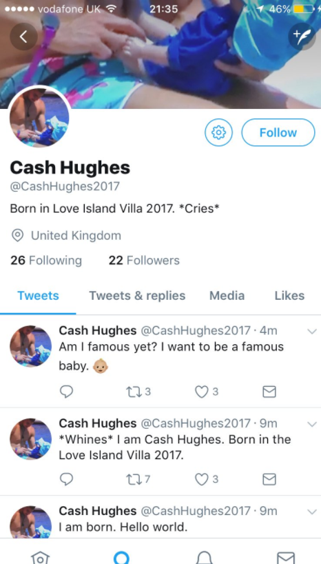 1e7aab8e190e82b0253e41b0bb76ab28 Love Island fans call for Chris Hughes and baby Cash to win as 'son' lands his own Twitter account and becomes an online sensation