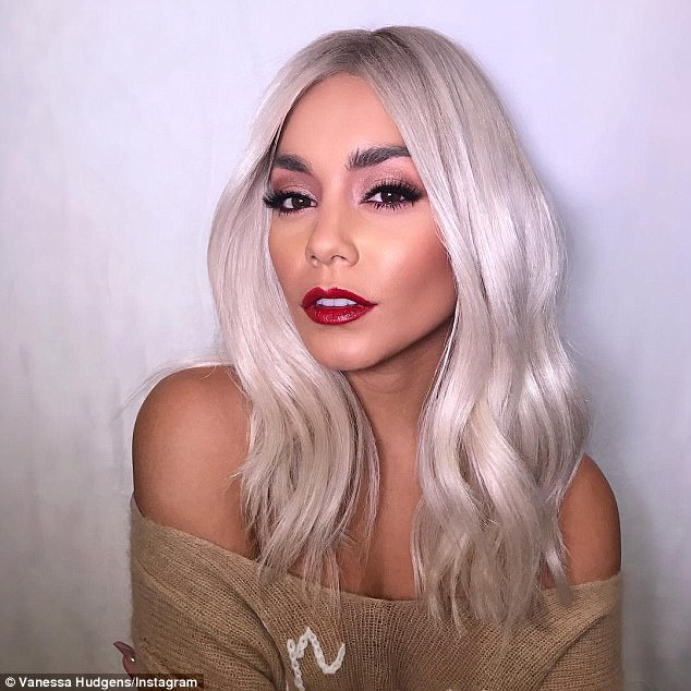 bd0423aa4ac9d76d4199413a99b56ae6 Wigging out! Vanessa Hudgens turns heads in a platinum blonde wig hours after debuting short new haircut