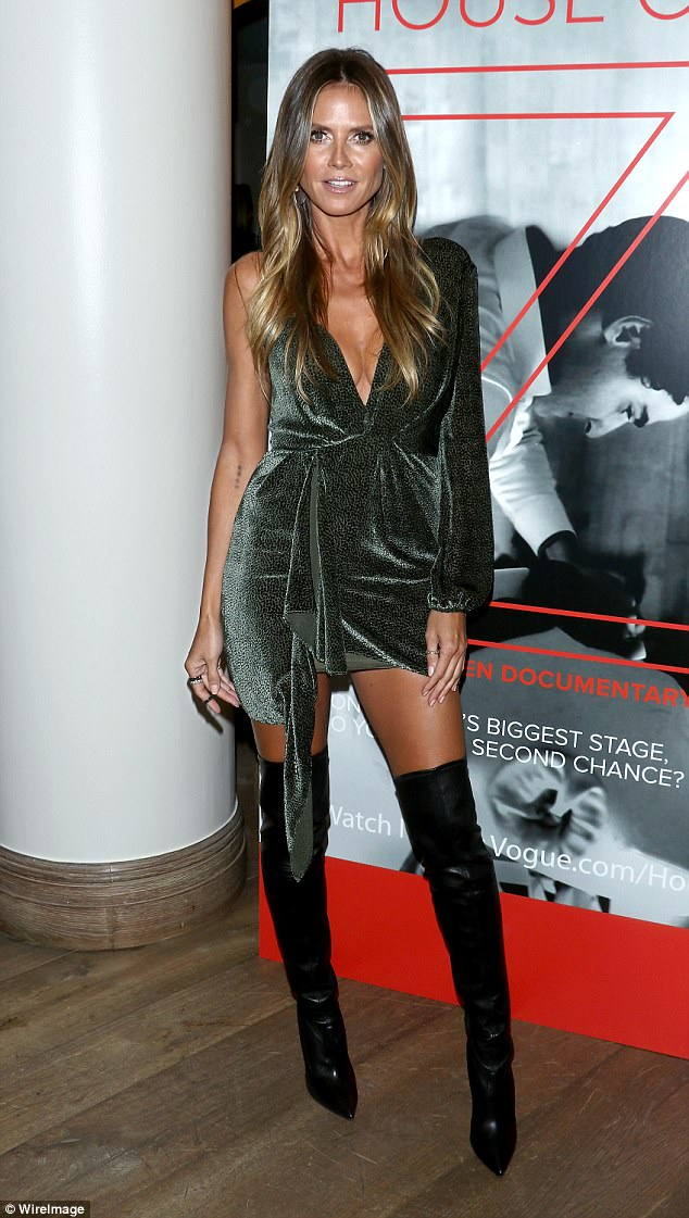 hot new products pretty cool top-rated fashion Enticing in emerald! Heidi Klum shows off cleavage in green ...