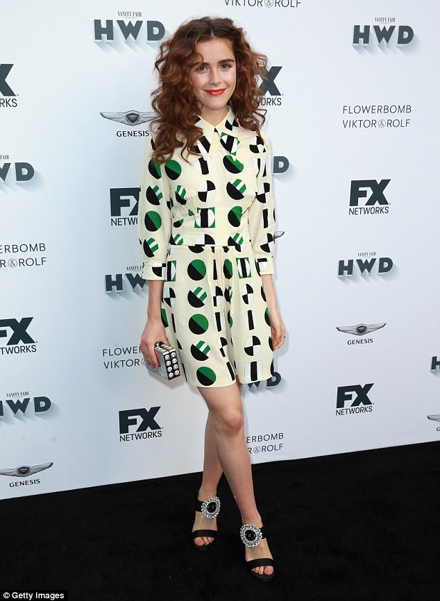 5c5a9c4cfdf5549641c358411ab9f972 Curly girl! Kiernan Shipka rocks masses of ringlets as she delights in quirky abstract-print dress at FX and Vanity Fair event