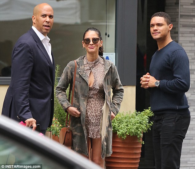 6c2251e5e7cef446d52a9dfe23f87f8d Breakfast club! Olivia Munn wears wild short dress while meeting up with Trevor Noah and Cory Booker in NYC