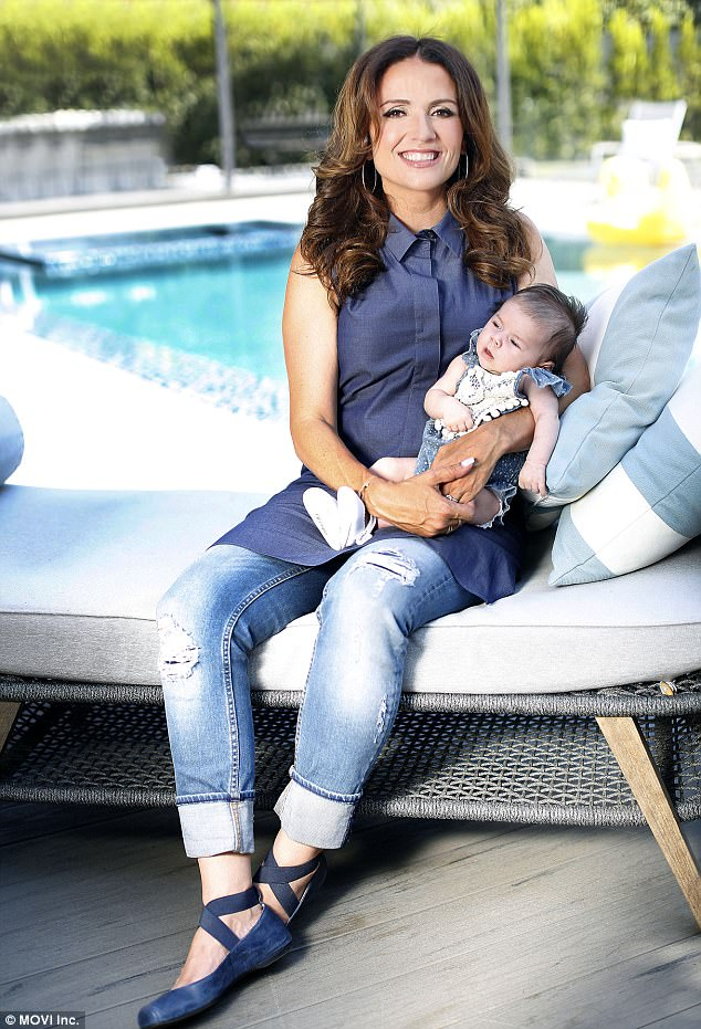 9526172732a04ac7b0dedc49f8ba8abe Sweet as a peach! Flipping Out star Jenni Pulos, 44, shows off daughter Georgia at home... after revealing IVF struggles