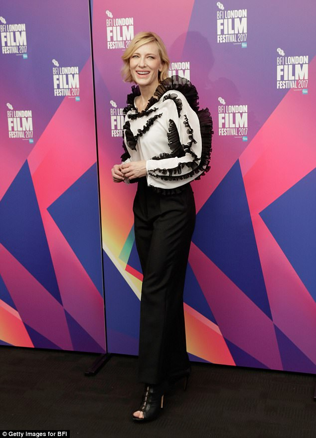 03a22c05781b291f89e7e62f1ad14d01 For the frill of it! Cate Blanchett oozes glamour in a striking ruffled blouse and tapered trousers at BFI London Film Festival