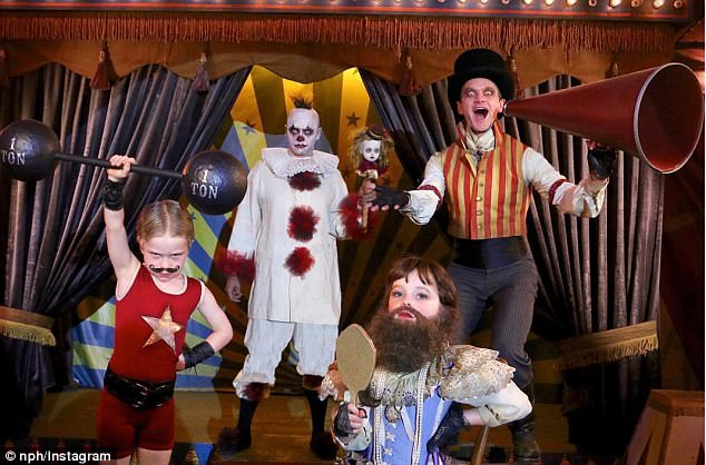 94b68d928ab22548d49e867bd51672b5 Circus freaks! Neil Patrick Harris shares photo of family's impressive carnival-themed Halloween costumes