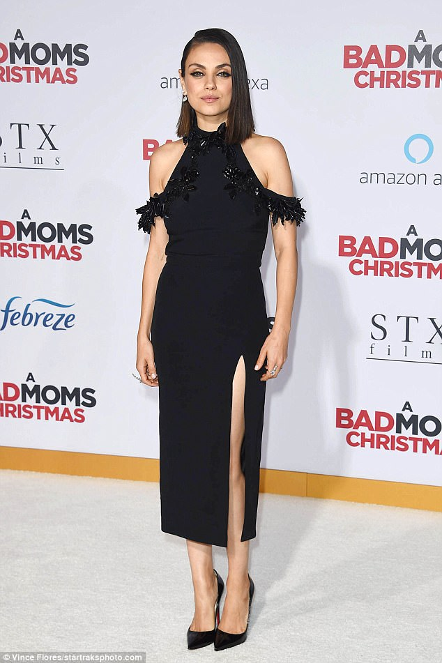 e1f87caebd254ca4296ed4f53c2bfe03 Bombshell in black! Mila Kunis flaunts her legs in gown with thigh-high slit for A Bad Moms Christmas premiere in LA
