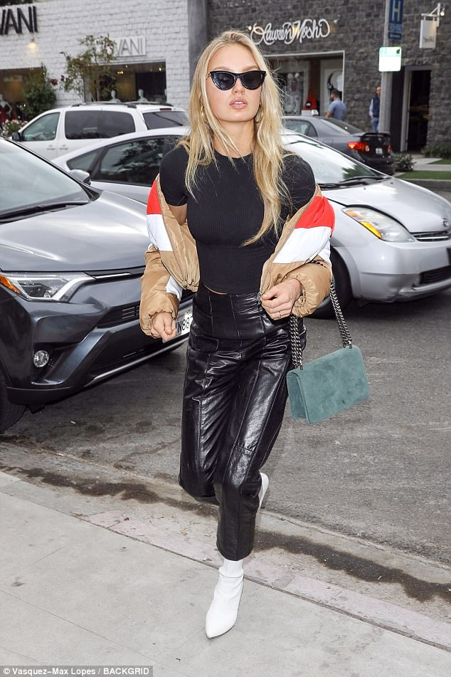 bd5fcc15bf9f7087c8a04d60ef08837f Biker chic! Romee Strijd dons leather trousers and puffy jacket while lunching at The Ivy with fashion blogger Negin Mirsalehi