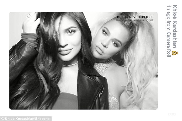 101aa9ce617ddb6276ac180b05d8d7fd Khloe Kardashian cosies up to pregnant sister Kylie Jenner in fun-filled snaps from family's annual Christmas Eve party... after confirming she is expecting her first child