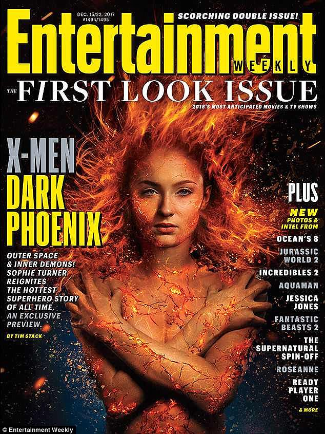 24f8ab535115e5c1cdb98e3a8e4c1026 Welcome to the dark side! Game Of Thrones' Sophie Turner poses topless and as her X-Men: Dark Phoenix alter-ego on Entertainment Weekly cover