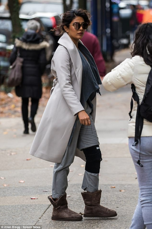 cc6841cd3e2d850018423e3e9bacb426 Priyanka Chopra looks sullen on the New York set of Quantico just a day after death of her beloved dog Brando