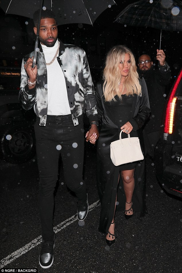 05efad152f1616d1918dc8d00ce8045f Double celebration! Khloe Kardashian joins Tristan Thompson at his birthday bash… hours after star-studded baby shower