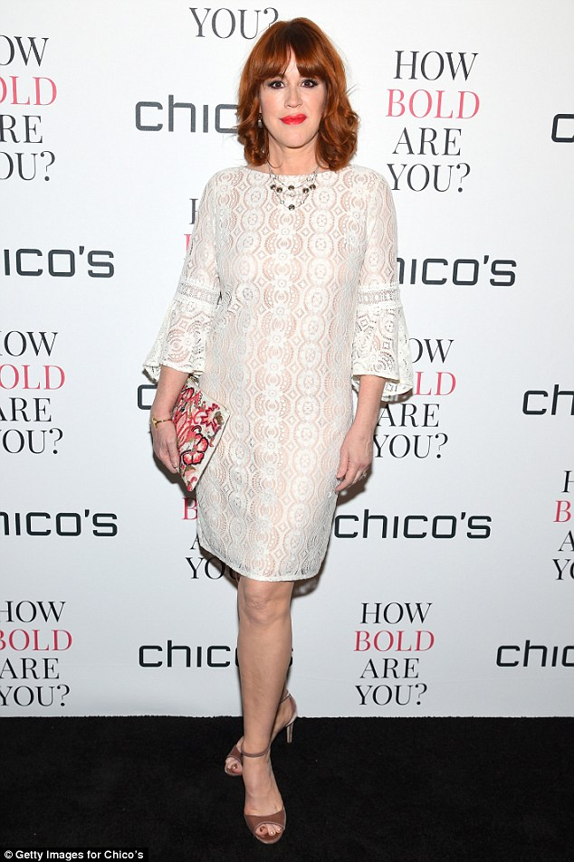 0657dc5076a86ce0294b2f444508664c How angelic! Molly Ringwald is a wonder in white patterned mini dress as she performs at gala event in NYC