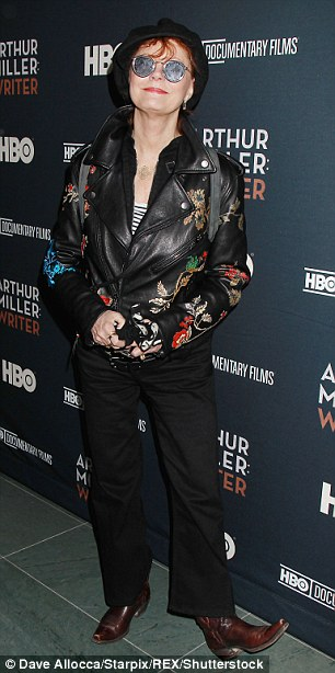 ba758224c5691ad6beea3108ebfb5811 Susan Sarandon rocks decorated biker jacket as she joins Julianne Moore in black winter coat at NY premiere for HBO's Arthur Miller: Writer