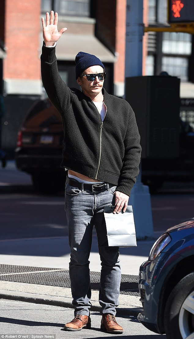 c3501a595668bdd40bcd2fec9fa715c7 James Franco hails a cab in NYC after returning to work on HBO's The Deuce amid sexual harassment allegations