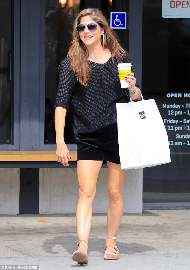 e3b5e4e9efd06fa4aebeba6cb9fe3ea5 Legs for days! Selma Blair puts her toned figure on display in shorts during shopping trip in Beverly Hills
